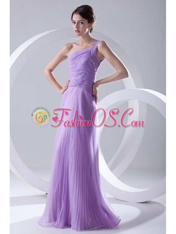 A-line One Shoulder Organza Floor-length Lavender Prom Dress