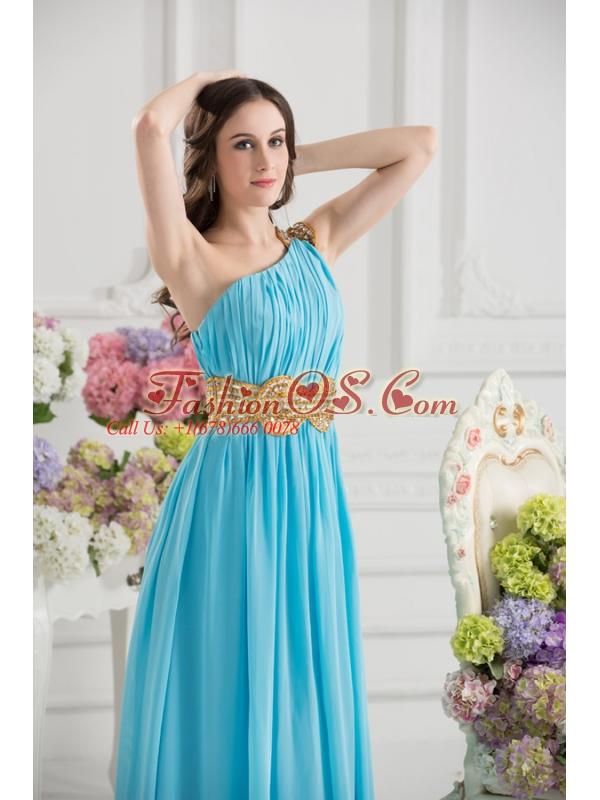 Aqua Blue Empire One Shoulder Floor-length High Slit Prom Dress