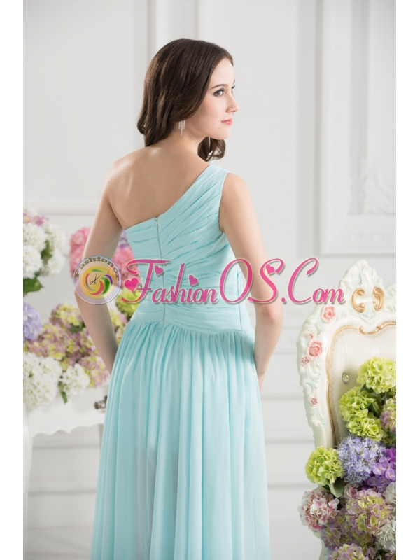 Aqua Blue One Shoulder Ruching Ankle-length Prom Dress