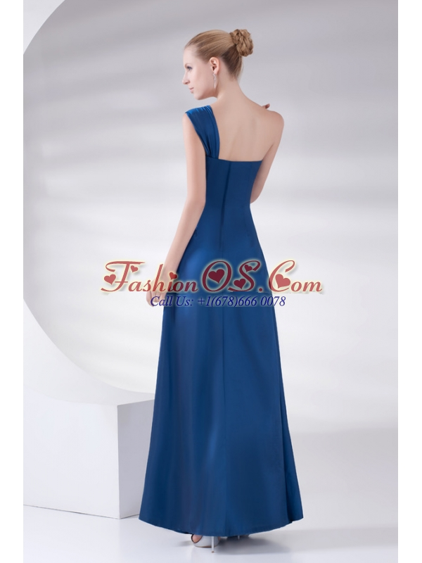 Column Navy Blue Beading and Ruching Beading Taffeta Prom Dress