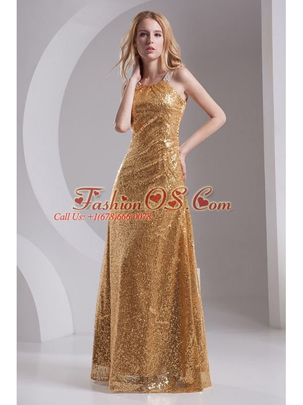 Column Straps Sequins Beading and Sequins Prom Dress in Gold