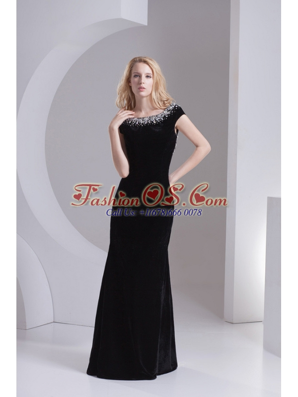 Empire Cap Sleeves Scoop Beading Floor-length Prom Dress