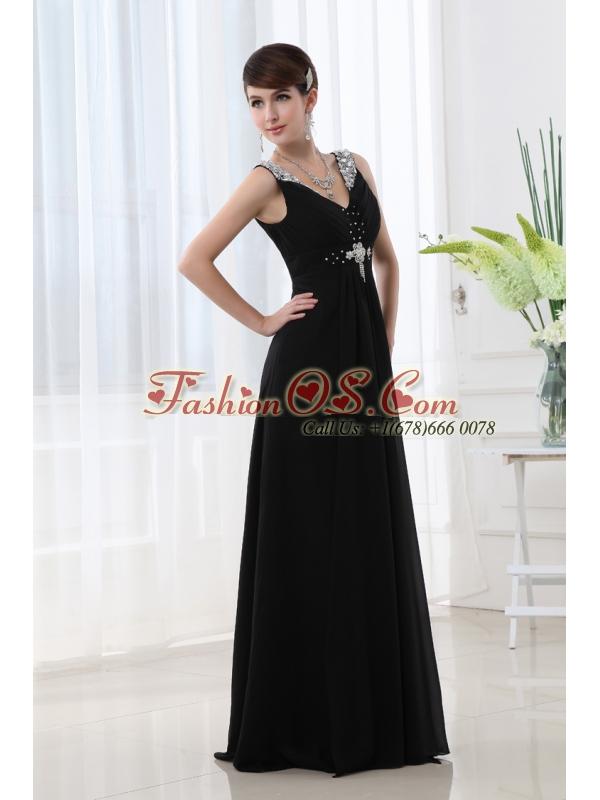 Empire Chiffon Floor-length V-neck Black Beading And Ruching Prom Dress