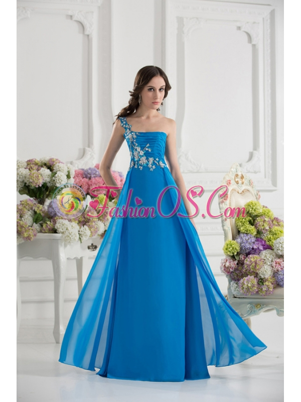 Empire One Shoulder Chiffon Appliques Ruching Dodger Blue Prom Dress
