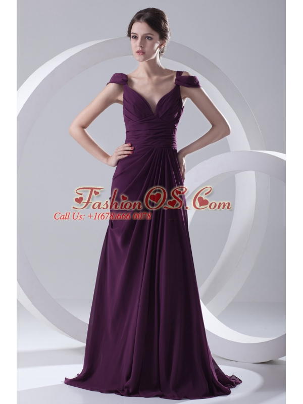 Empire Purple Ruching Straps Cap Sleeves Dresses for Prom