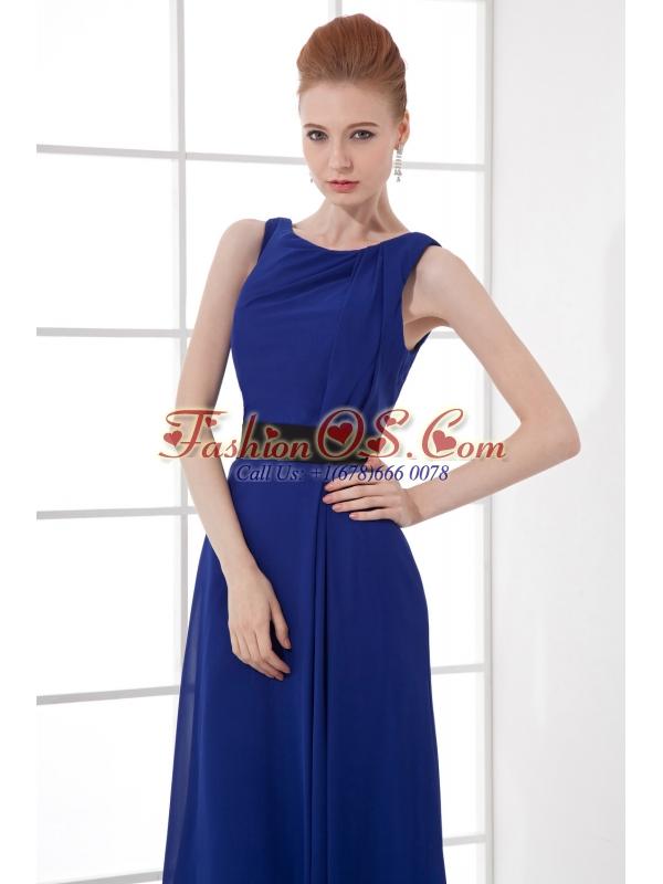 Peacock Blue Empire Bateau Floor-length Backless Prom Dress