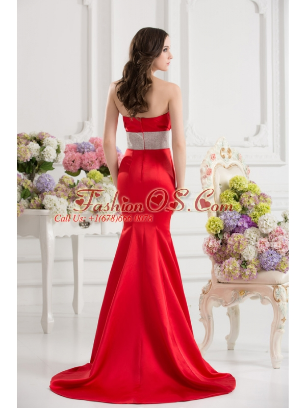 Red Mermaid Strapless Court Train Belt and Ruching Prom Dress