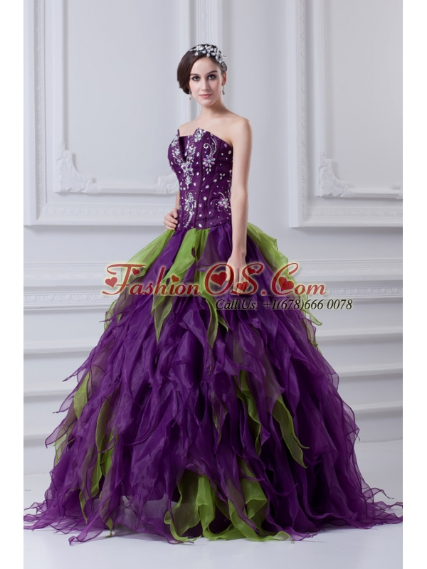 Uniques Multi-color Strapless Ball Gown Quinceanera Dress with Beading
