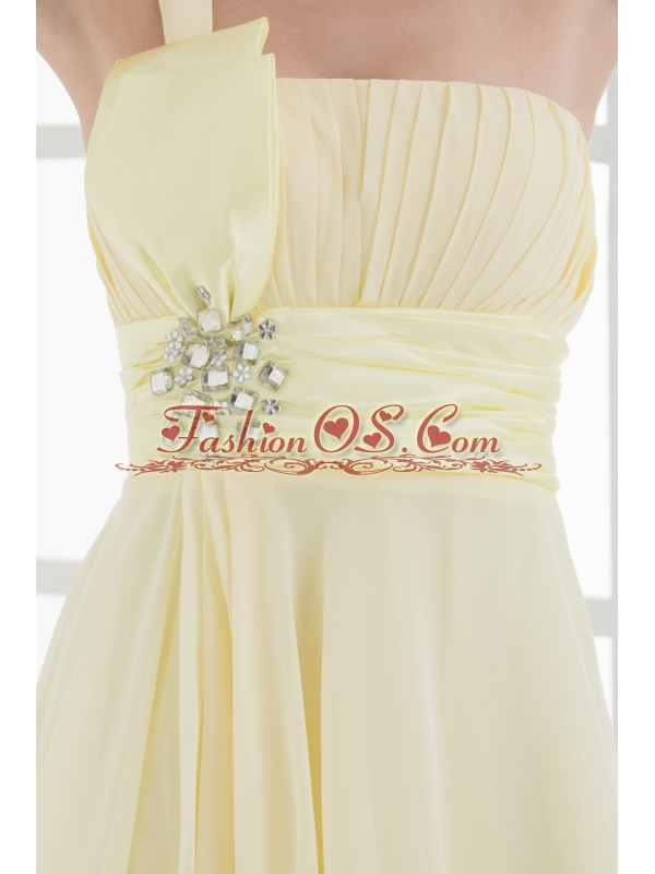 A-line Chiffon One Shoulder Beading and Ruching  Prom Dress