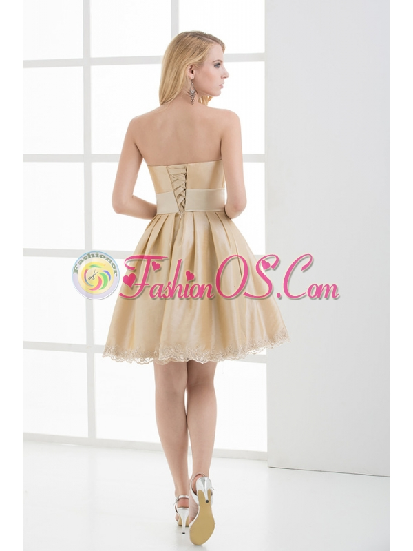 A-line Strapless Sleeveless Embroidery Champange Prom Dress