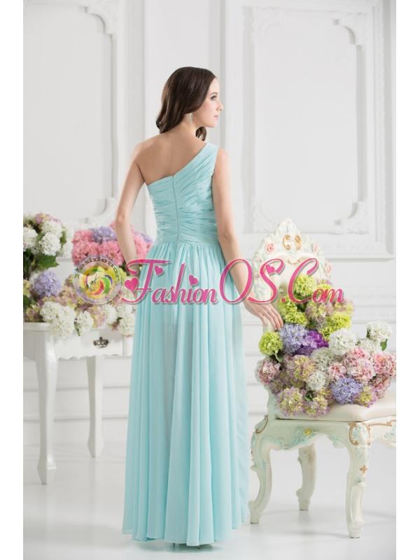 Aqua Blue One Shoulder Ruching Ankle-length Prom Dress