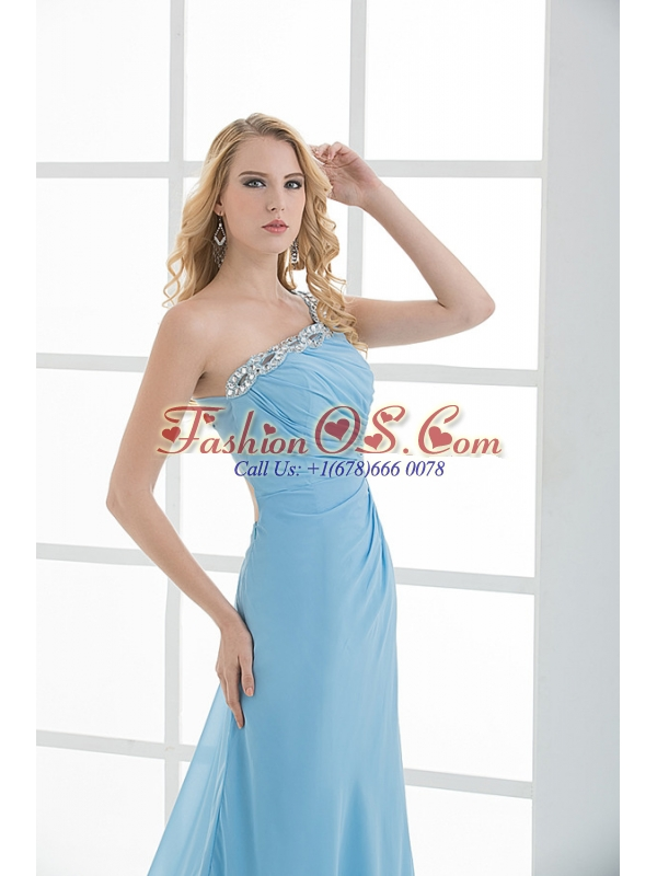 Blue Column One Shoulder Beading Chiffon Ruching Prom Dress