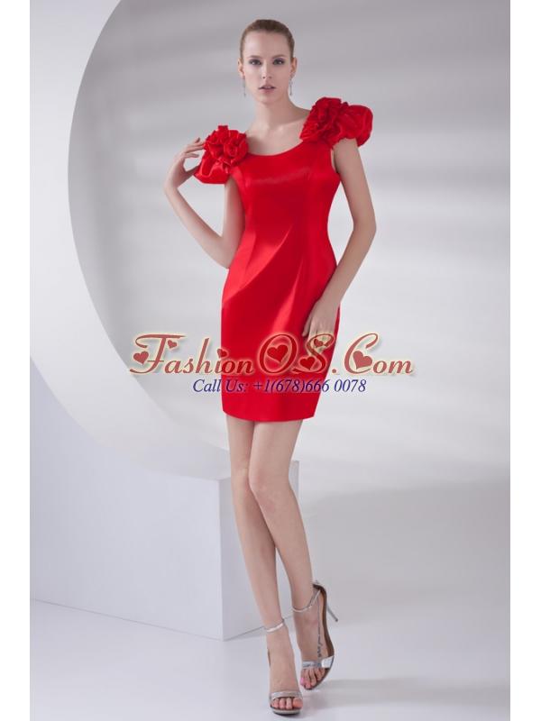 Column Scoop Cap Sleeves Wine Red Short Prom Dress