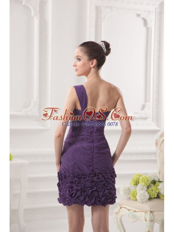 Dark Purple One Shoulder Prom Dress with Beading and Ruffles