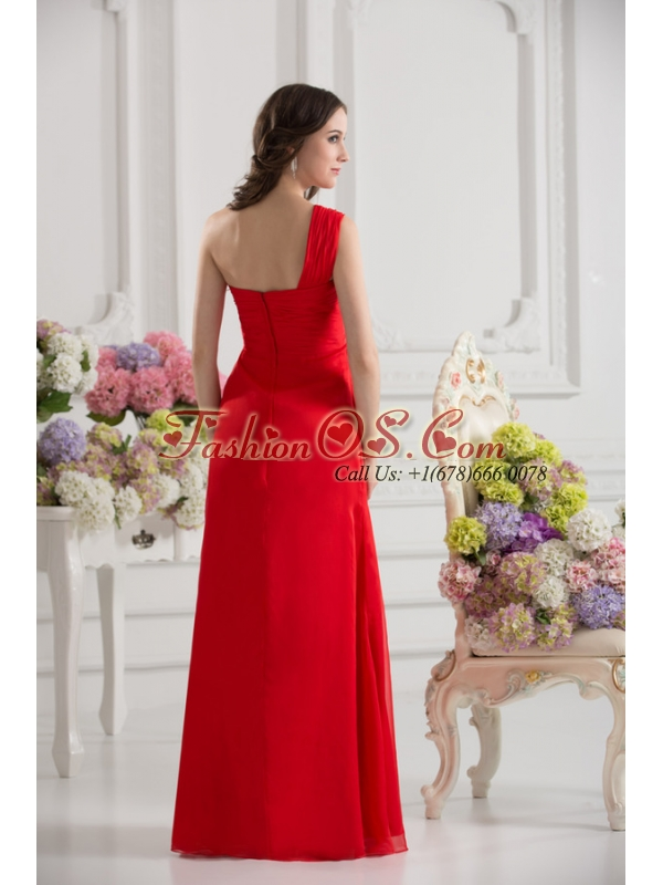Empire One Shoulder Chiffon Ruching Floor-length Prom Dress in Red