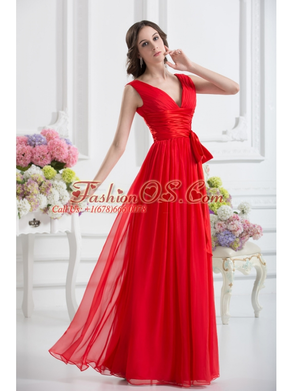 Empire V-neck Ruching Sashes Chiffon Prom Dress with Wine Red
