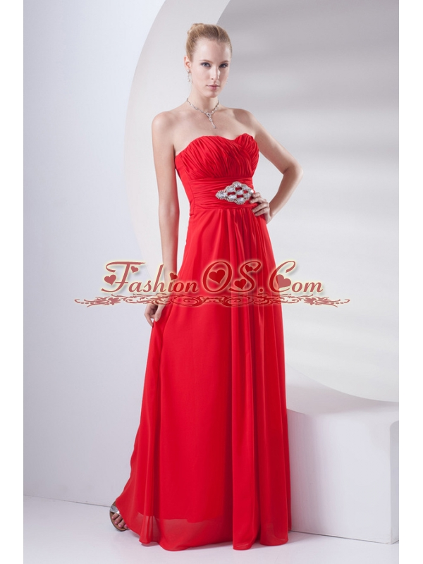 Empire Wine Red Sweetheart Beading Prom Dress with Chiffon