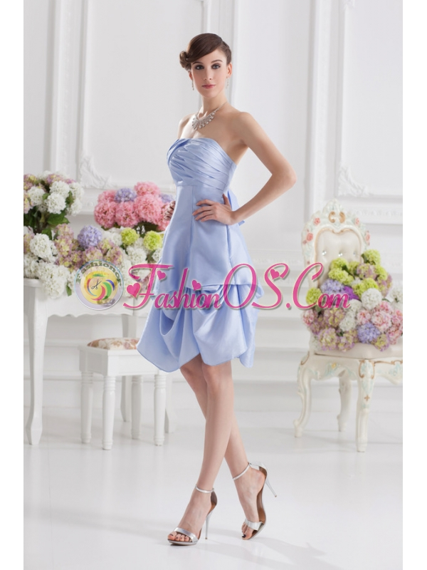 Lavender Strapless Short Taffeta Prom Dress with Bowknot