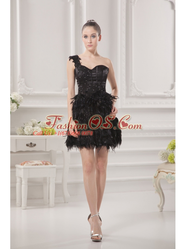One Shoulder Beading Ruffles Special Fabric Black Prom Dress