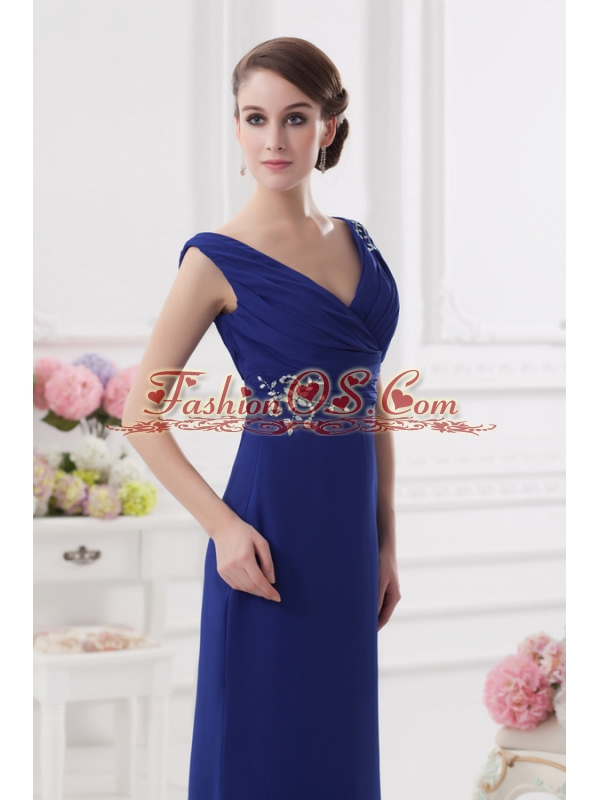 Ruching and Beading V-neck Column Dark Blue Prom Dress