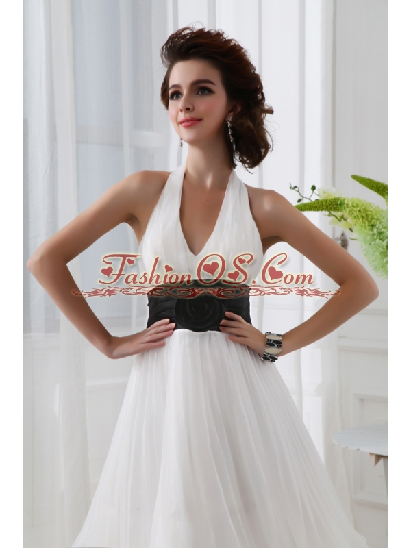 A-line Chiffon White Haltor Top Knee-length  Hand Made Flower Prom Dress