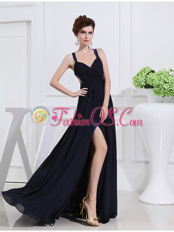 Empire Floor-length Straps Ruching Navy Blue Prom Dress