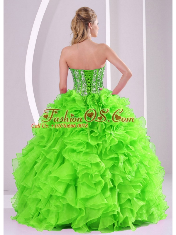 2014 Spring Puffy Sweetheart Beading Quinceanera Dress with Full Length
