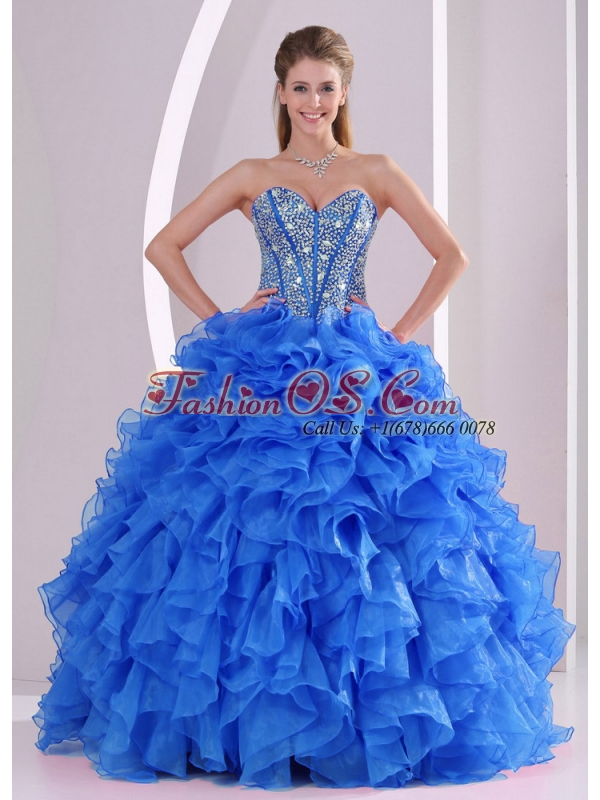 Exquisite Sweetheart Full -length 2014 Summer 15 Quinceanera Gowns in Blue