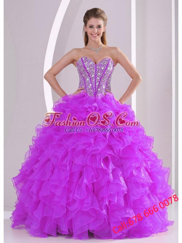 2013 Winter Sweetheart Ruffles and Beading Long Puffy Quinceanera Dresses in Fuchsia