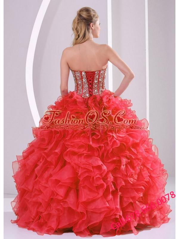 2014 Puffy Sweetheart Long Lace Up 2013 Quinceanera Dresses with Beading Ruffles