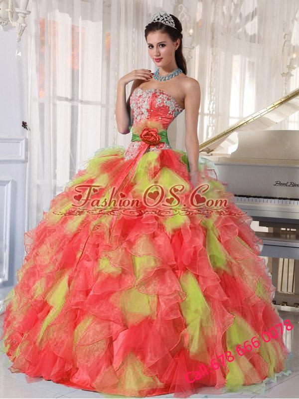 Appliques and Ruffles Organza Multi-color 2013 Quinceanera Dresses