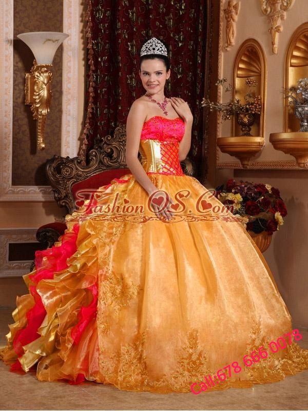 Ball Gown Strapless Floor-length Organza Embroidery Gold Pretty Quinceanera Dresses