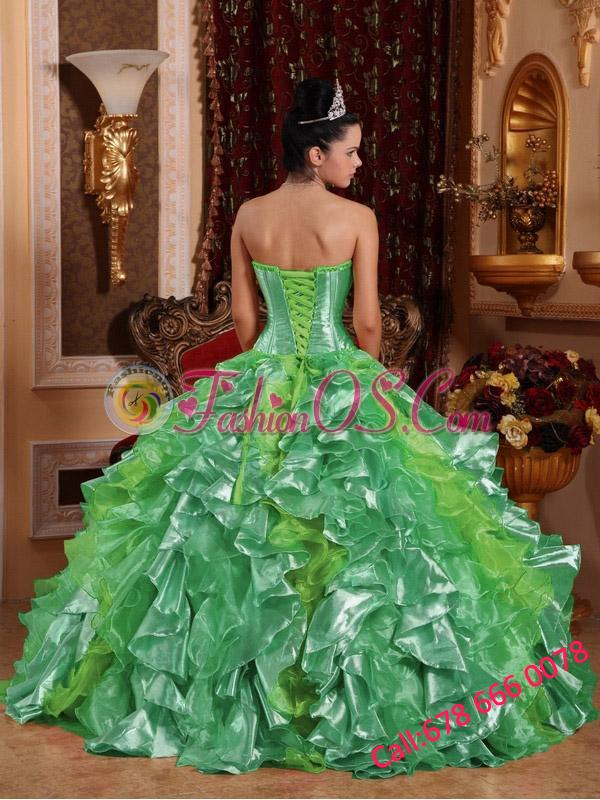 Ball Gown Strapless Green Ruffles Embroidery 15 Quinceanera Dresses