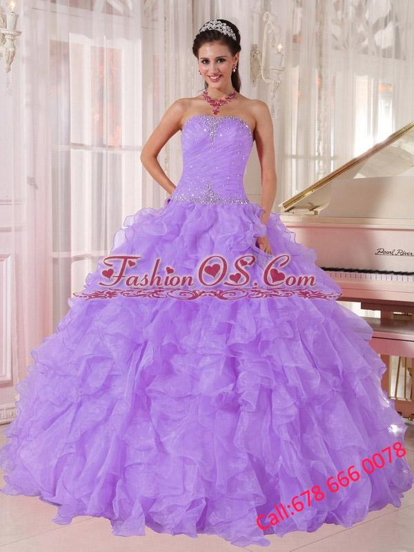 Ball Gown Strapless Lavender Organza Beading 2013 Quinceanera Dresses for Party