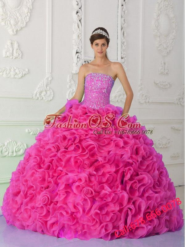 Ball Gown Strapless Organza Hot Pink Pretty Quinceanera Dresses with Beading and Ruffles