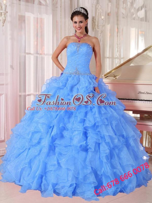 Ball Gown Strapless Ruffles and Beading Floor-length Organza Beading Blue Puffy Quinceanera Dresses