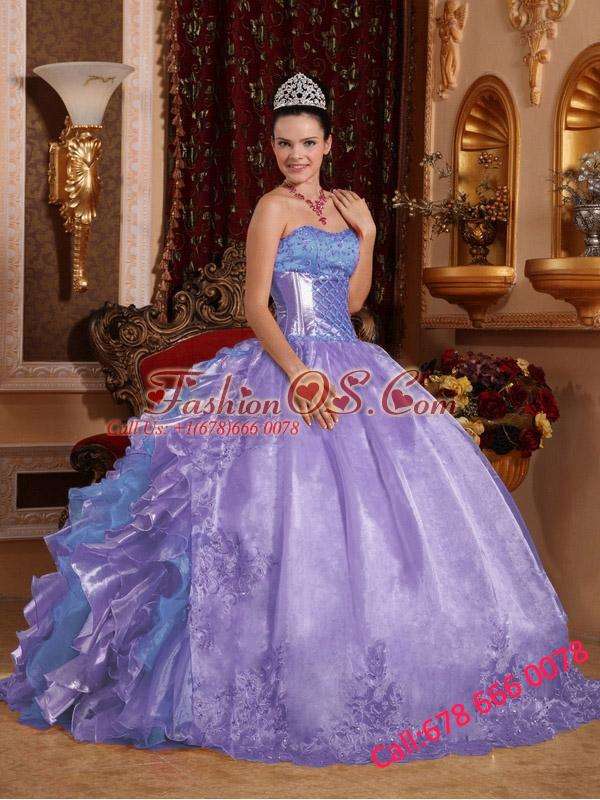 Ball Gown Strapless Ruffles Organza Embroidery Lavender Puffy Quinceanera Dresses