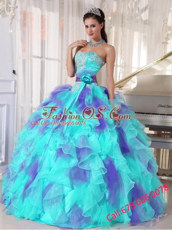 Ball Gown Sweetheart Organza Floor-length Appliques Quinceanera Dresses 2014