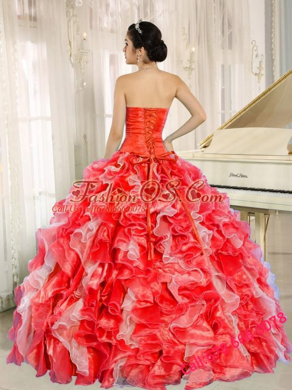 Beaded and Ruffles Custom Made For 2013 Red Puffy Quinceanera Dresses