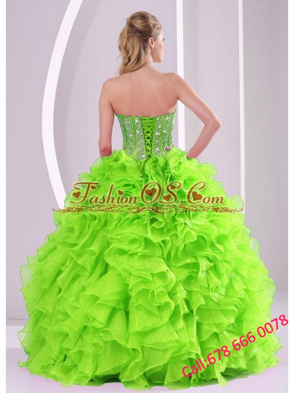 Beading Ball Gown Sweetheart Green Quinceanera Dresses 2014 summer