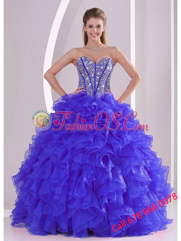 Blue Sweetheart Ruffles and Beaded Decorate Organza Puffy Quinceanera Dresses