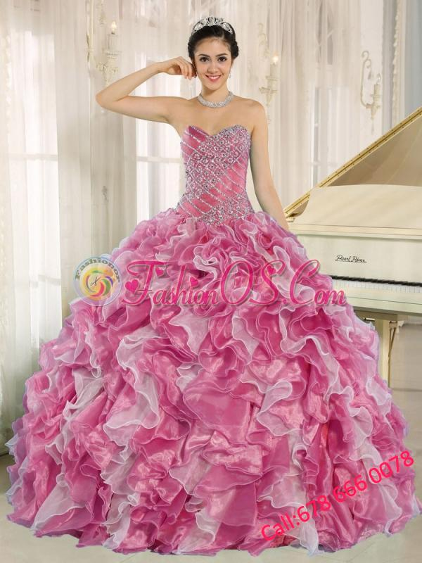 Pink Beaded Bodice and Ruffles Custom Made For 2013 15 Quinceanera Dresses