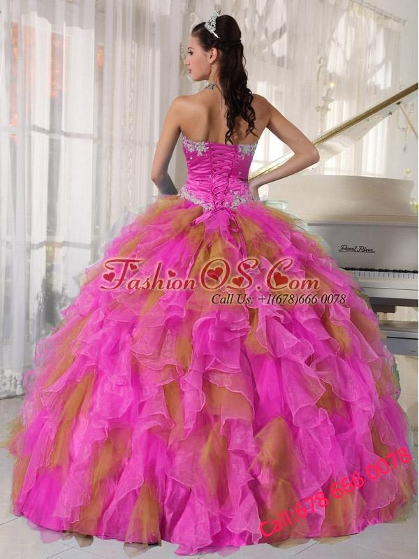 Ball Gown Sweetheart Appliques and Riffles with-flower Multi-color Pretty Quinceanera Dresses
