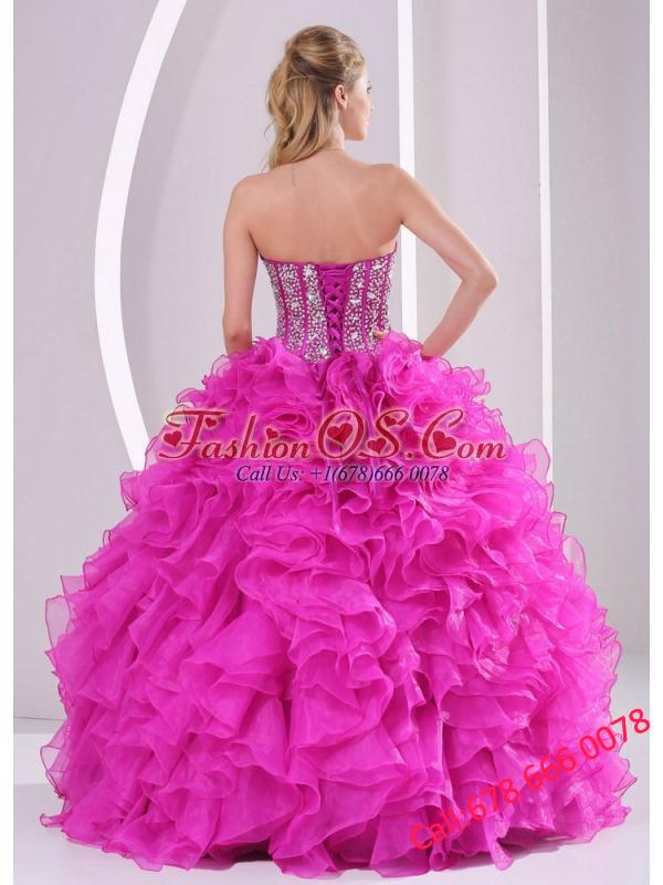 Pretty Sweetheart Ruffles and Beaded Decorate 2014 Hot Pink Quinceanera Dresses 2014