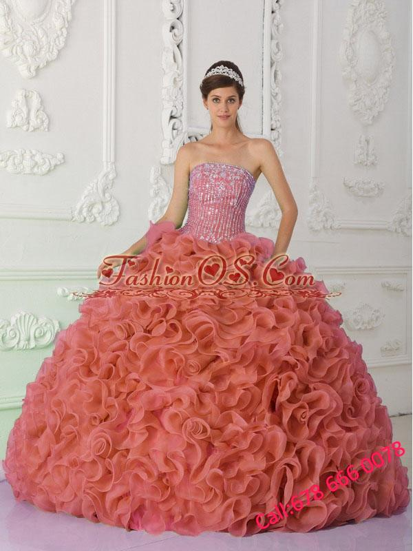 Rust Red Strapless Organza Beading and Puffy Quinceanera Dresses