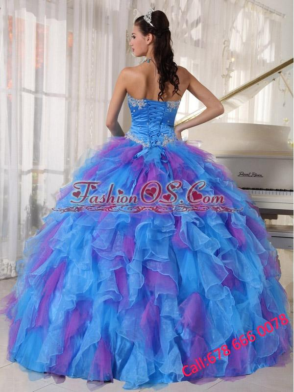 Sweetheart Appliques and Ruffles Organza 2013 Quinceanera Dress