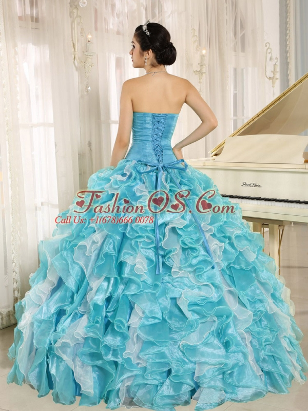 Beaded Ruffles Custom Made For 2013 Aqua Blue Quinceanera Dresses