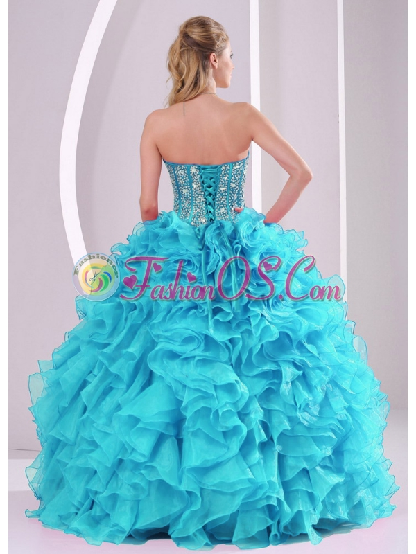 Baby Blue Sweetheart Ruffles and Beaded Decorate Sleeveless Cute Quinceanera Dresses