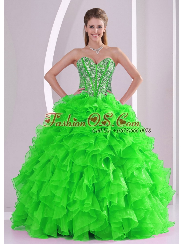 Ball Gown Ruffles and Beading 2013 winter Sweet 16 Dresses with Lace up