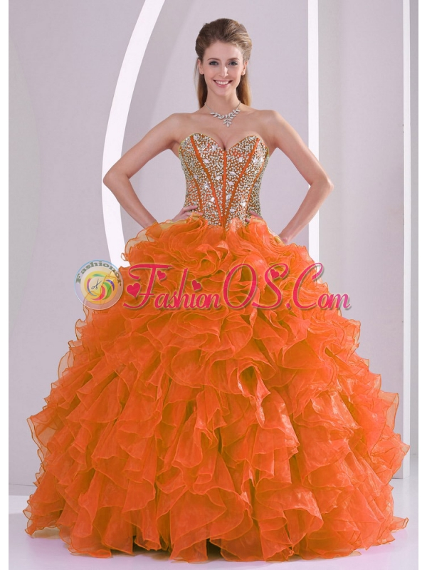 Elegant Ball Gown Sweetheart Ruffles and Beaded Decorate Discount Quinceanera Dresses in Sweet 16